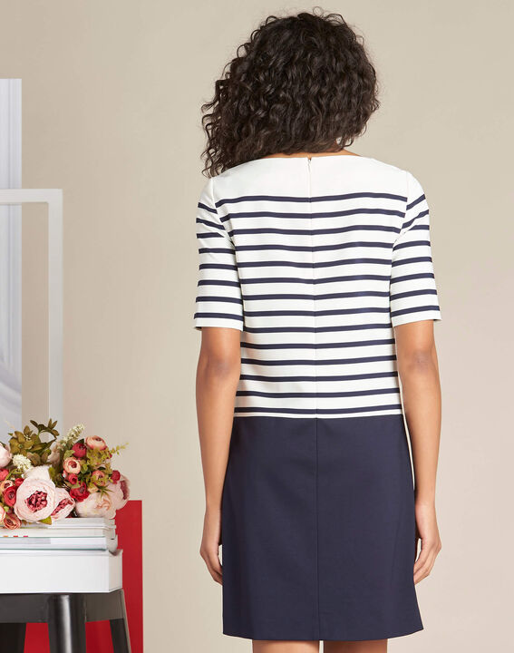 Petite striped navy blue straight-cut dress (4) - 1-2-3