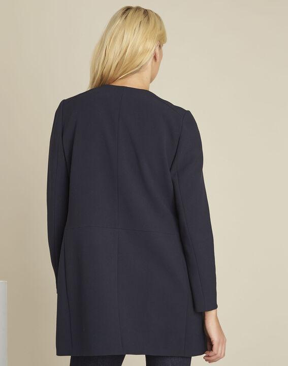 Gerader marineblauer Mantel mit Reißverschlüssen Kaya (4) - 1-2-3