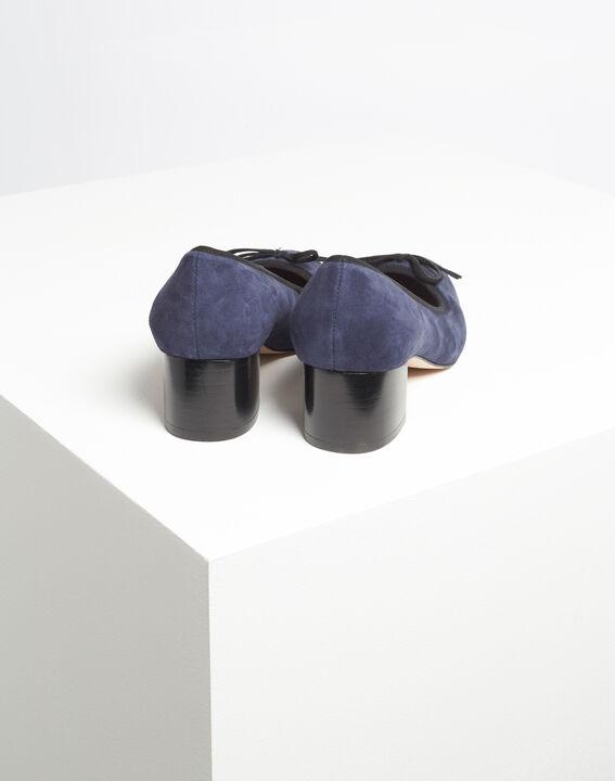 Marineblauwe pumps met suède-effect en vierkante hakken Kalista (4) - Maison 123