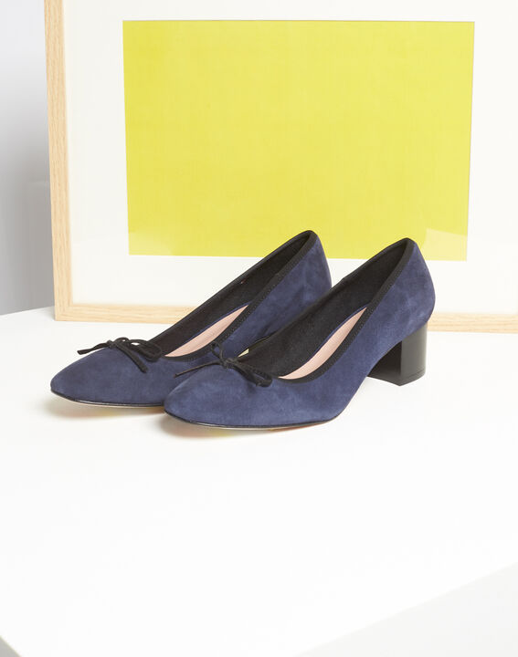 Kalista navy velvet-effect shoes with square heels PhotoZ | 1-2-3