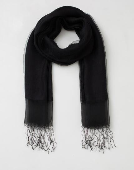 Maeva black silk stole (2) - 1-2-3