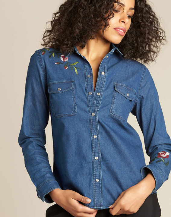 Desmond denim floral embroidered shirt PhotoZ | 1-2-3