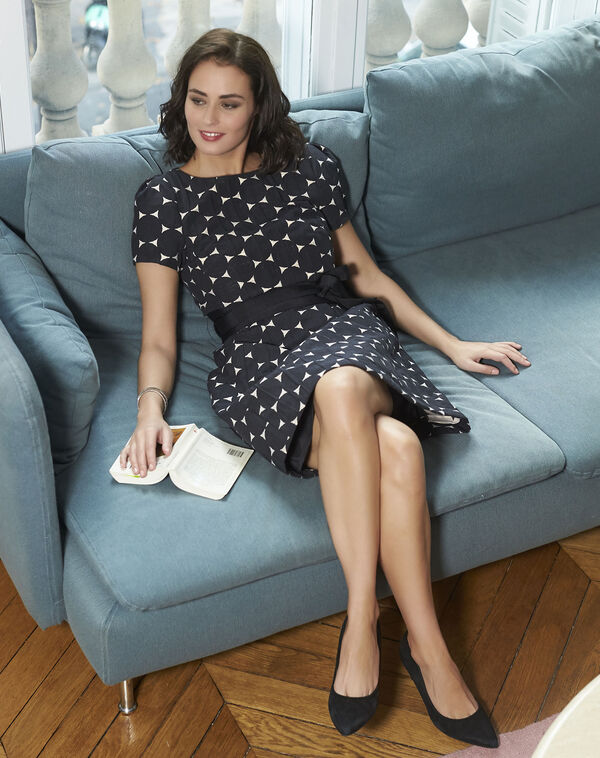 Nadine Belted Black Polka Dot Dress (2) - 1-2-3