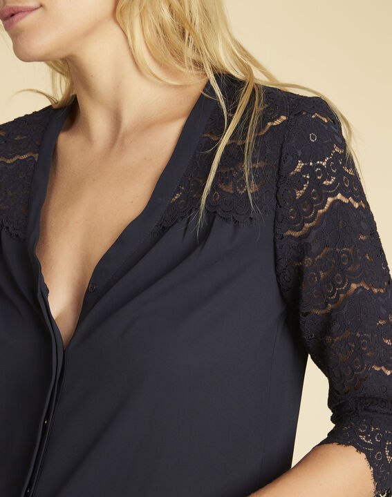 Colette navy blue blouse with lace insert (3) - 1-2-3