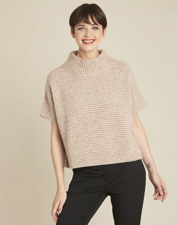 Bami beige high collar wool mix pullover PhotoZ | 1-2-3