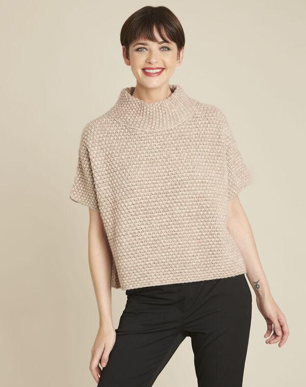 Beige trui met hoge kraag van gemengd wol Bami (1) - 37653