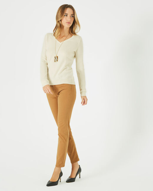 Pivoine ecru V-neck sweater in cashmere (2) - 1-2-3
