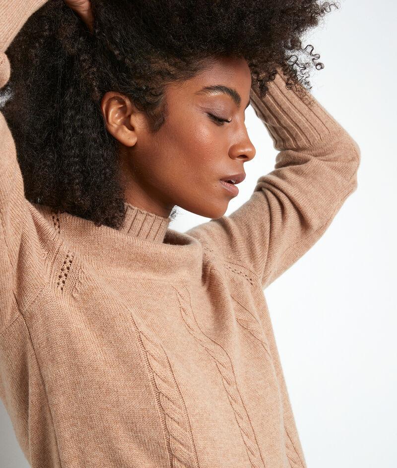 Pullover aus recycelter Wolle mit Kamingkragen und Zopfmuster beige Thalassa PhotoZ | 1-2-3