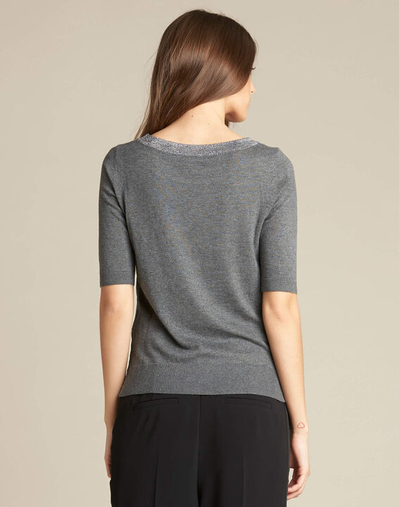 Nath grey cotton sweater with short sleeves (4) - 1-2-3