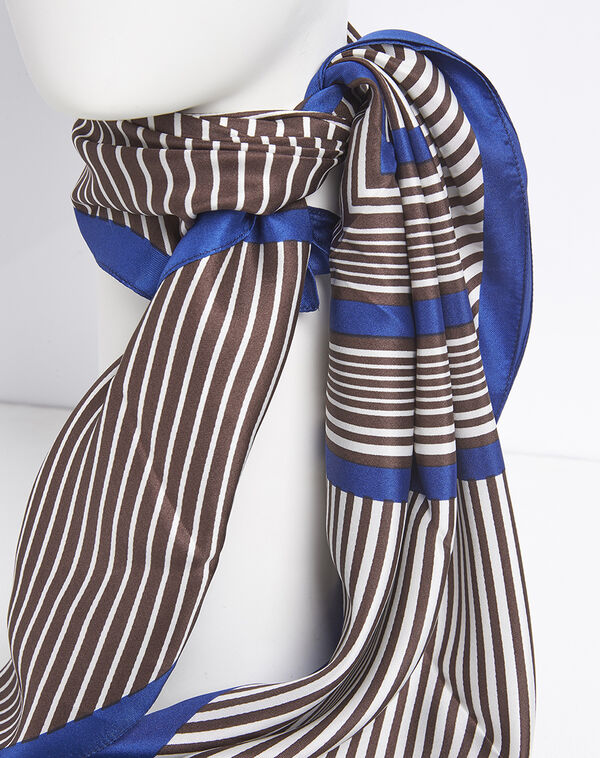 Frisbee brown and blue striped silk square (2) - 1-2-3