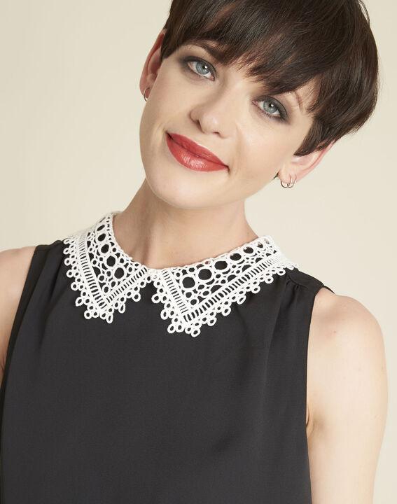 Cassie black top with lace neckline (2) - 1-2-3