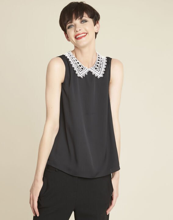 Cassie black top with lace neckline PhotoZ | 1-2-3