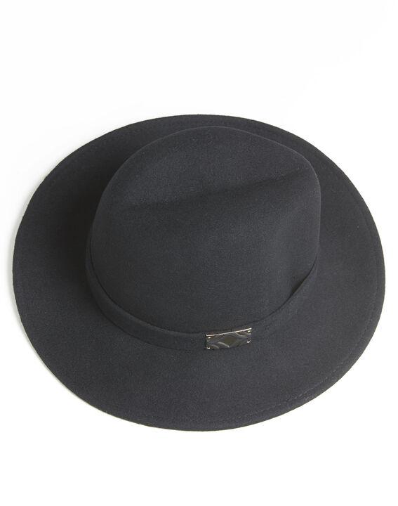 Zwarte dameshoed van wol met band Uliette (2) - Maison 123