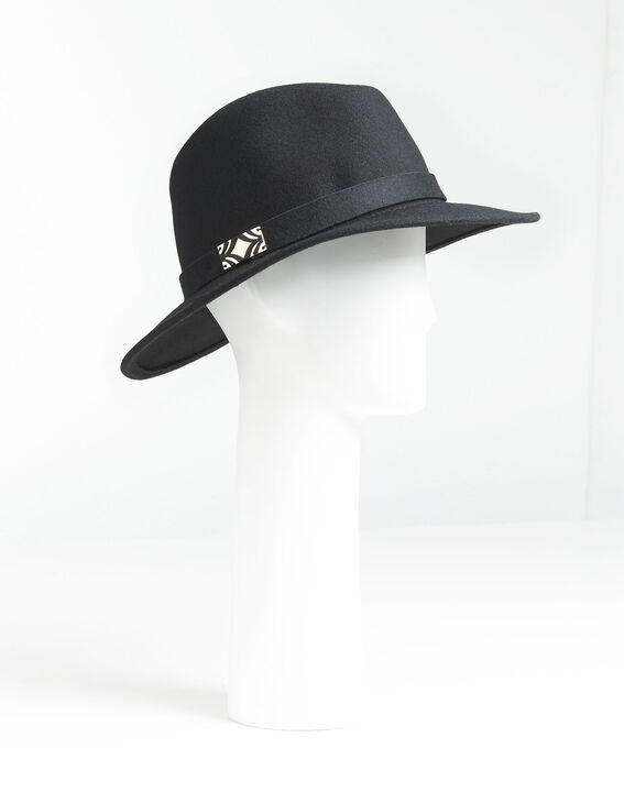 Uliette black wool hat with band PhotoZ | 1-2-3