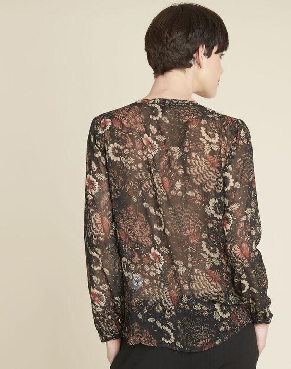 Roma black floral printed blouse (4) - 1-2-3