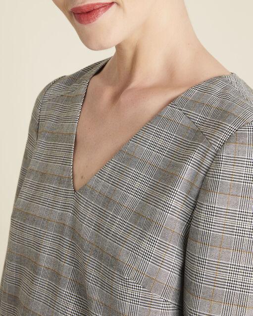 Robe grise imprimé Prince de Galles Dame (1) - 1-2-3