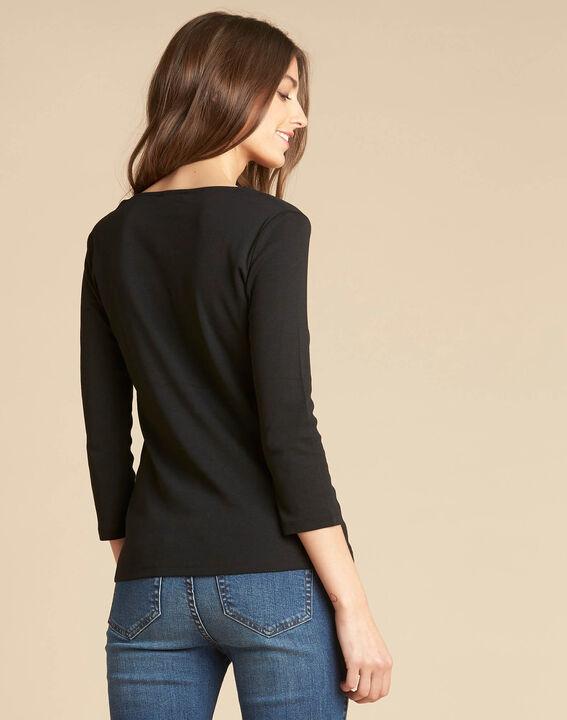 Tee-shirt noir encolure à oeillets Basic (4) - 1-2-3