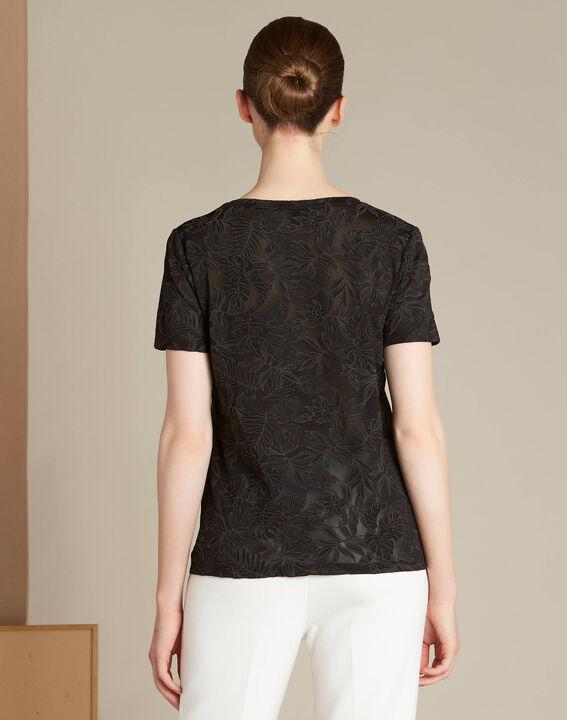 Ecorce black leaf printed T-shirt (4) - 1-2-3