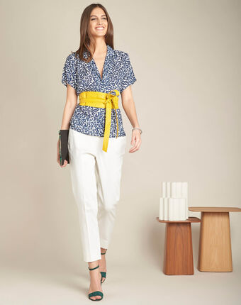 Gisors navy blue blouse with floral print navy.