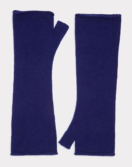 Blaue Kaschmir-Halbhandschuhe Trèfle (1) - 1-2-3