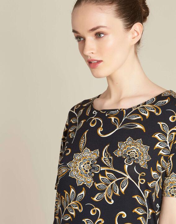 Tee-shirt noir imprimé foulard Encens PhotoZ | 1-2-3