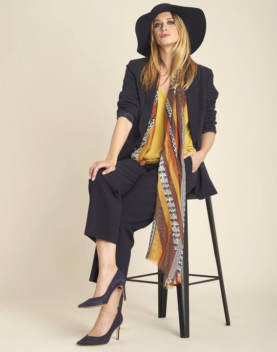 Amberkleurige sjaal van zijde en modaal met ethnische print Fenda (3) - 37653