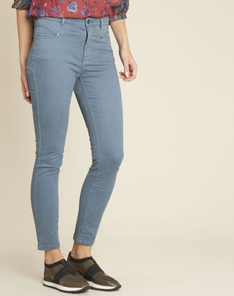 Honore blue slim-cut jeans with high waist petrol blue.