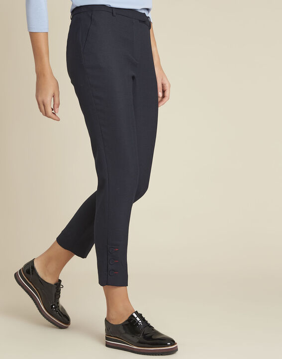 Heko navy wool mix trousers with cigarette cut PhotoZ | 1-2-3
