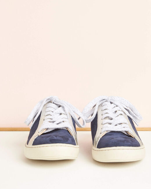 Marineblaue Sneakers im Materialmix Kamille (1) - 1-2-3