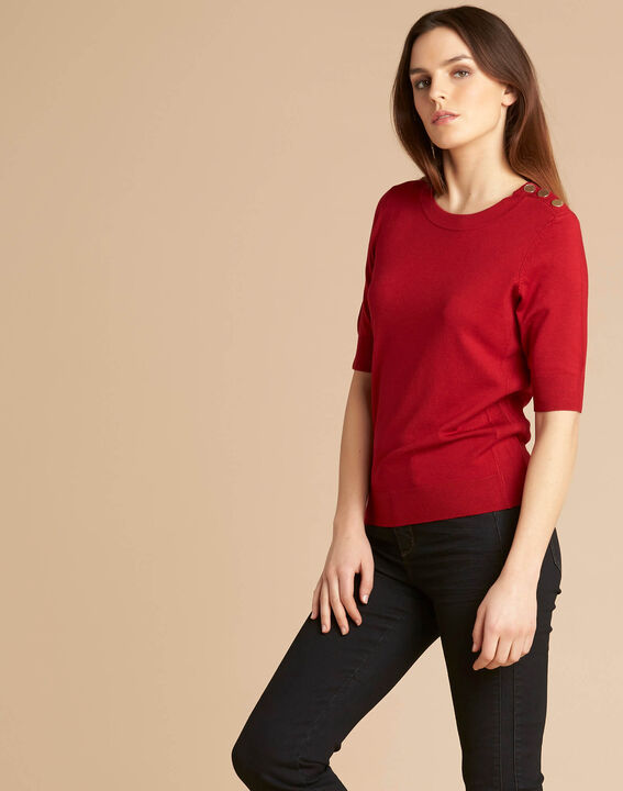 Pull rouge col rond Natacha (3) - 1-2-3