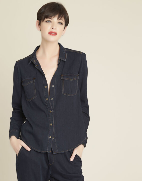 Cassis navy denim blouse PhotoZ | 1-2-3
