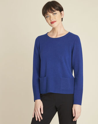 Brume blue cashmere pullover with pockets mid blue.