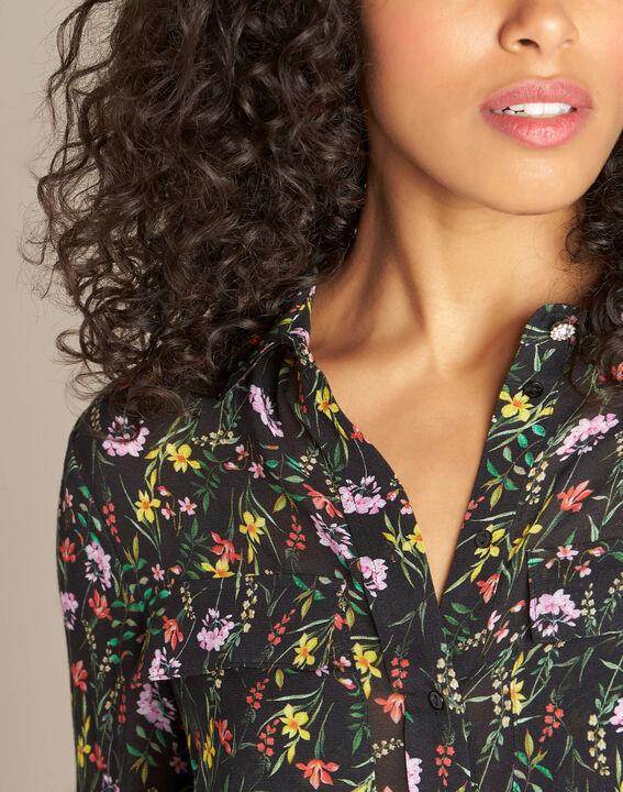 Davis black shirt with floral print PhotoZ | 1-2-3