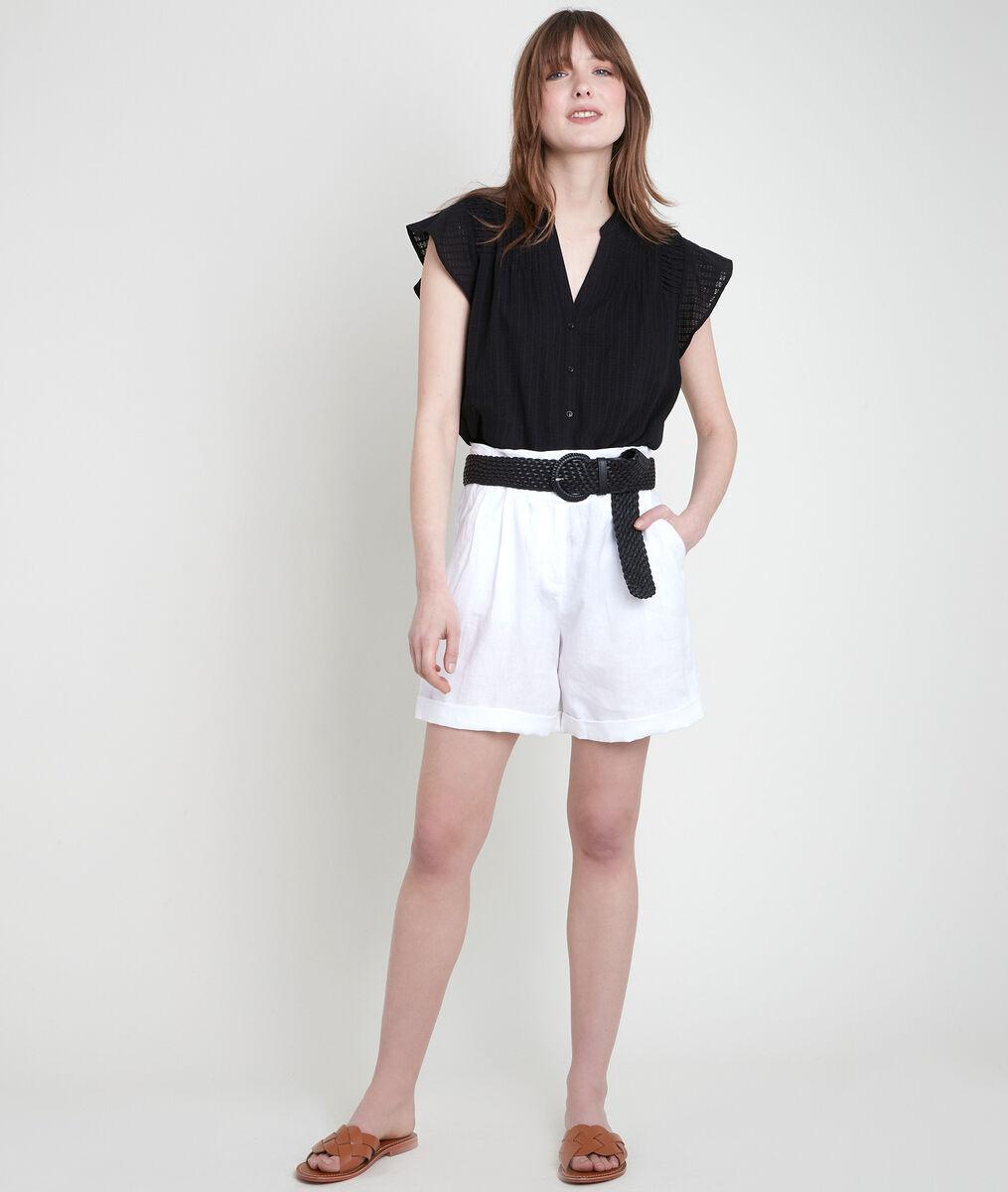Short en lin certifié blanc Fariel PhotoZ   1-2-3