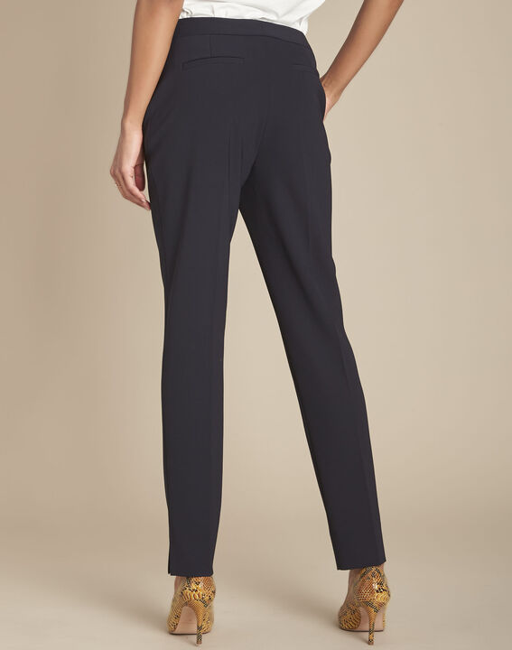 Lara navy slim-cut microfibre trousers (3) - 1-2-3