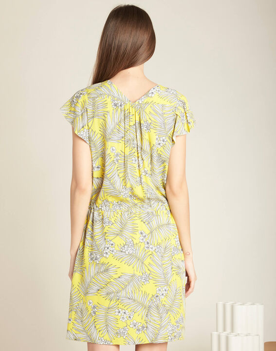 Palma yellow printed dress with tie (4) - 1-2-3