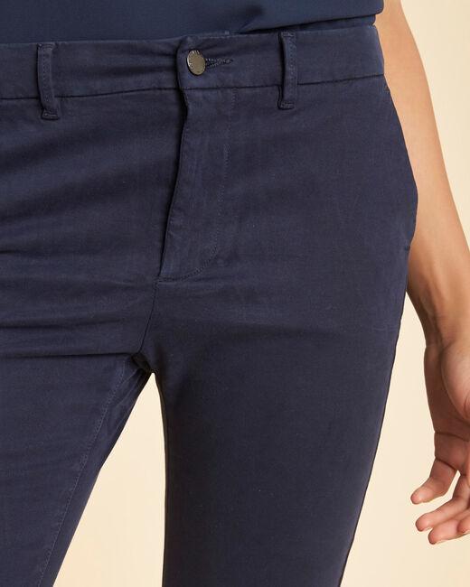 Marineblaue Chinohose mit normaler Leibhöhe aus Baumwollsatin Valentin (2) - 1-2-3