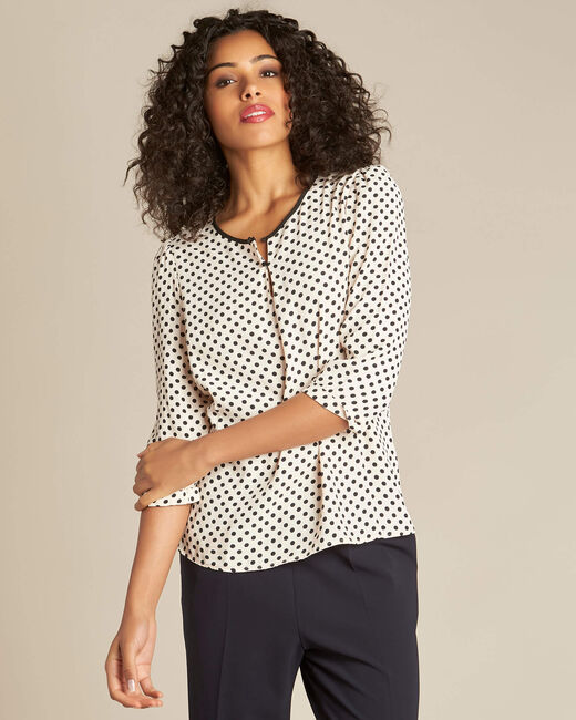 Gastric pastel blouse with black polka dots (2) - 1-2-3
