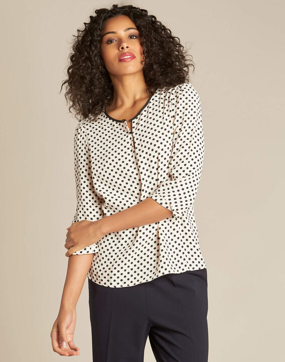 Gastric pastel blouse with black polka dots (3) - 1-2-3