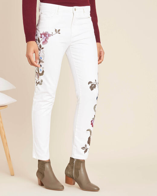 Vendôme white embroidered slim-cut 7/8 length jeans (2) - 1-2-3