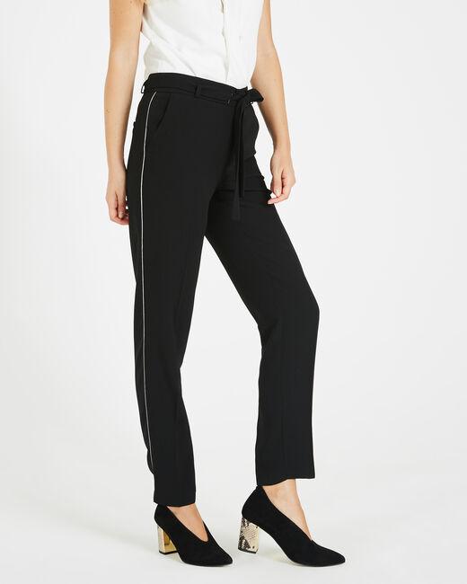 Pantalon noir en crêpe Karoline (1) - 1-2-3