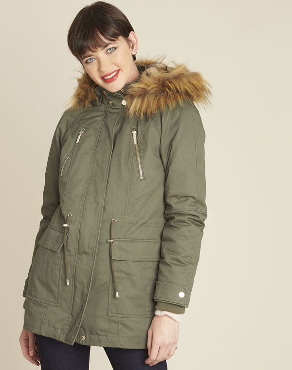 Pia khaki hooded faux fur down jacket (1) - 1-2-3