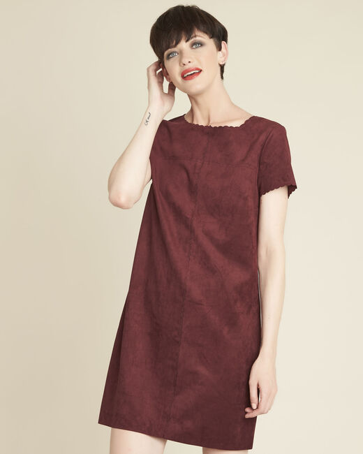 Darcy red suede-effect dress with scalloped detailing (2) - 1-2-3