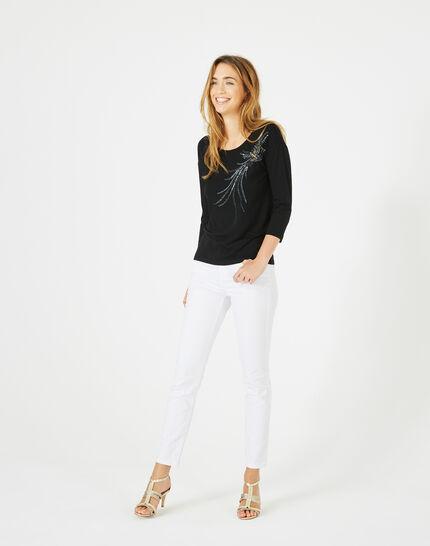 Tee-shirt noir oiseau sequins Beads (1) - 1-2-3
