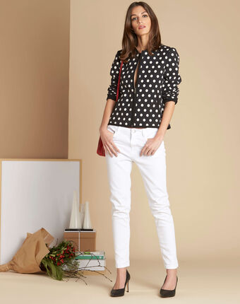 Charlotte polka dot vest with contrasting trim black/white.
