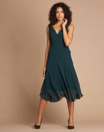 Foret forest green silk swirly midi dress dark teal.