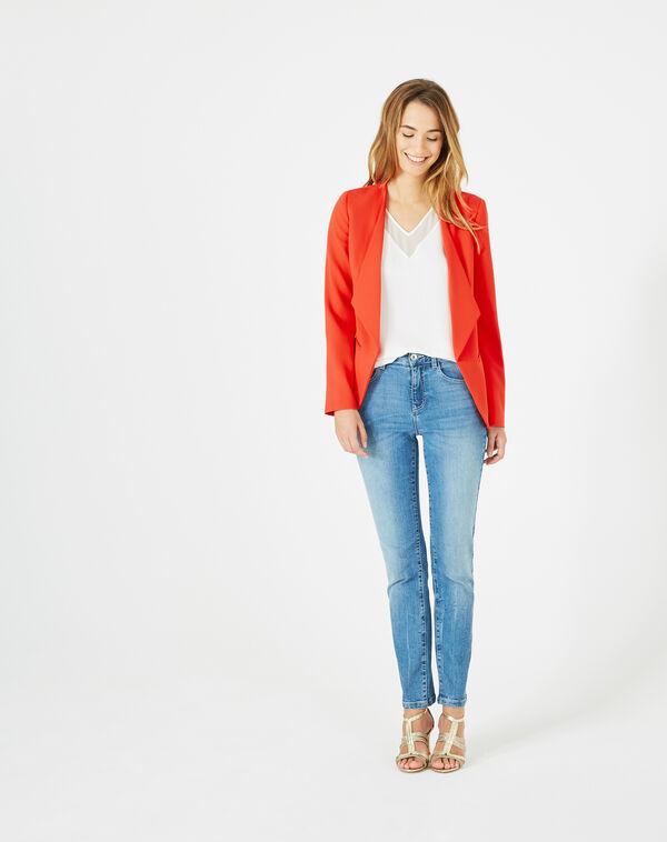 Veste rouge col tailleur maite à