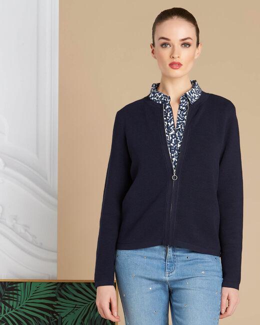 Marineblaue Ottoman-Jacke mit Reißverschluss Napoli (2) - 1-2-3