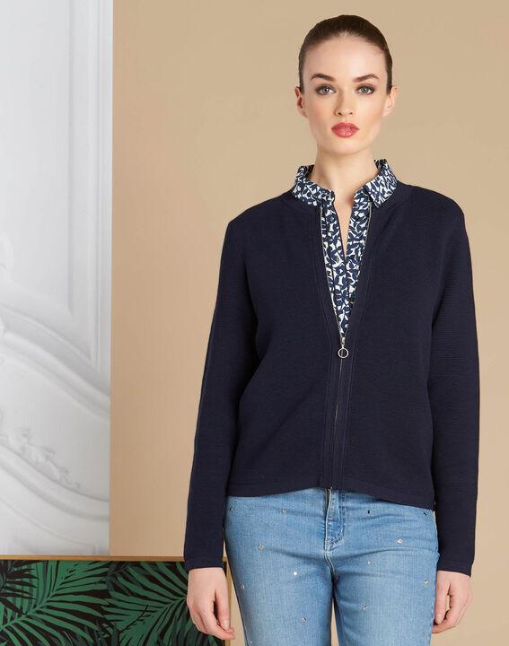 Napoli navy blue zipped ottoman jacket (3) - 1-2-3
