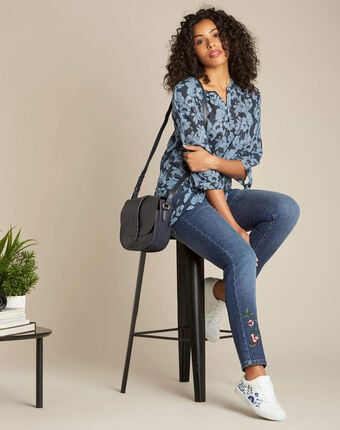 Gustine navy blue floral printed blouse navy.